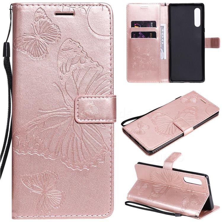Embossing 3D Butterfly Leather Wallet Case for LG Velvet 5G (LG G9 G900) - Rose Gold
