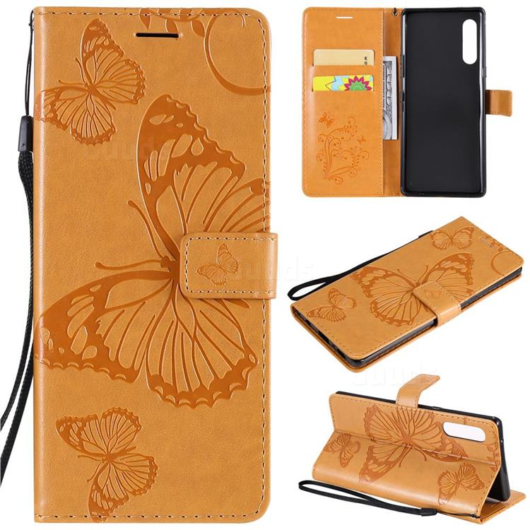 Embossing 3D Butterfly Leather Wallet Case for LG Velvet 5G (LG G9 G900) - Yellow