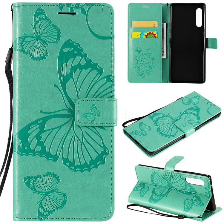 Embossing 3D Butterfly Leather Wallet Case for LG Velvet 5G (LG G9 G900) - Green