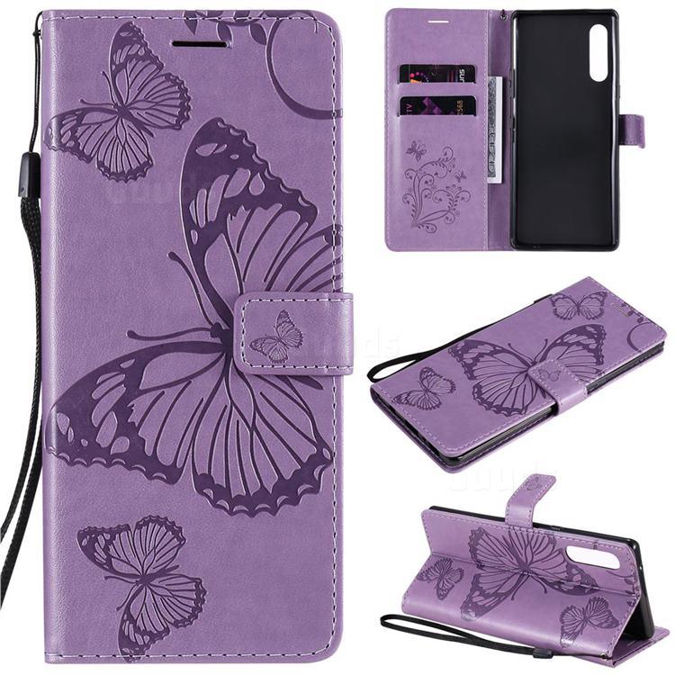 Embossing 3D Butterfly Leather Wallet Case for LG Velvet 5G (LG G9 G900) - Purple