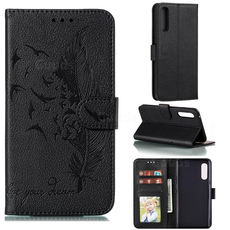 Intricate Embossing Lychee Feather Bird Leather Wallet Case for LG Velvet 5G (LG G9 G900) - Black