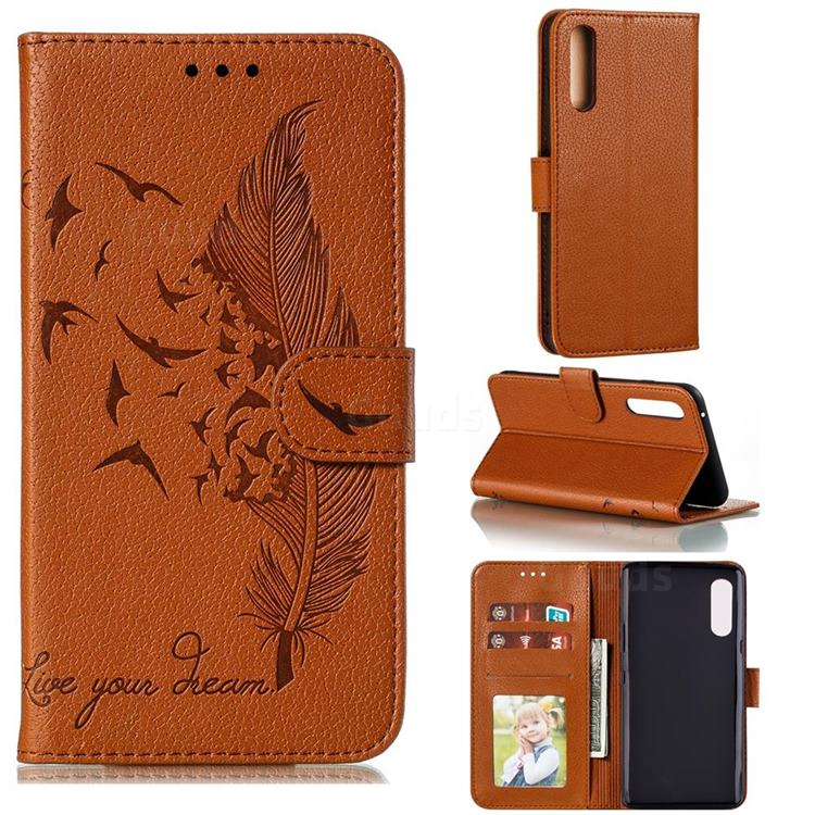 Intricate Embossing Lychee Feather Bird Leather Wallet Case for LG Velvet 5G (LG G9 G900) - Brown