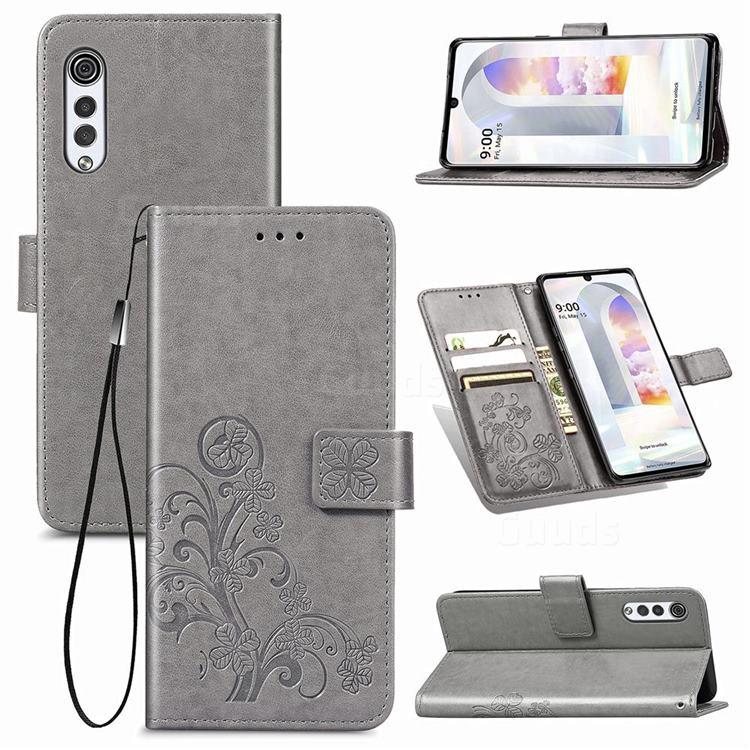 Embossing Imprint Four-Leaf Clover Leather Wallet Case for LG Velvet 5G (LG G9 G900) - Grey