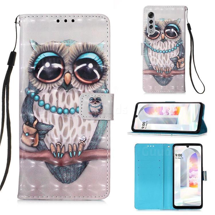 Sweet Gray Owl 3D Painted Leather Wallet Case for LG Velvet 5G (LG G9 G900)