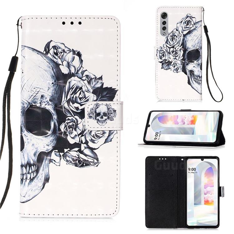 Skull Flower 3D Painted Leather Wallet Case for LG Velvet 5G (LG G9 G900)