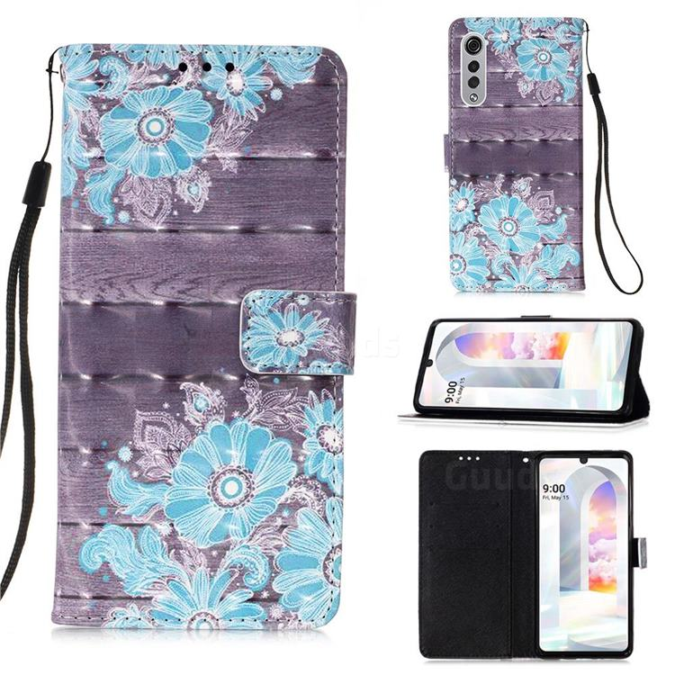 Blue Flower 3D Painted Leather Wallet Case for LG Velvet 5G (LG G9 G900)