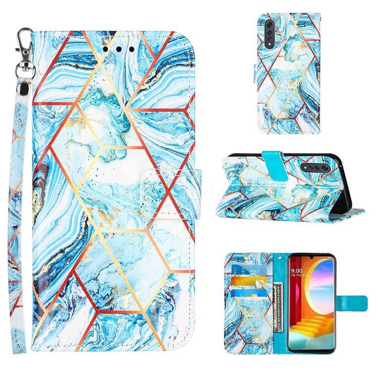 Lake Blue Stitching Color Marble Leather Wallet Case for LG Velvet 5G (LG G9 G900)