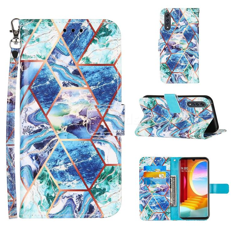 Green and Blue Stitching Color Marble Leather Wallet Case for LG Velvet 5G (LG G9 G900)