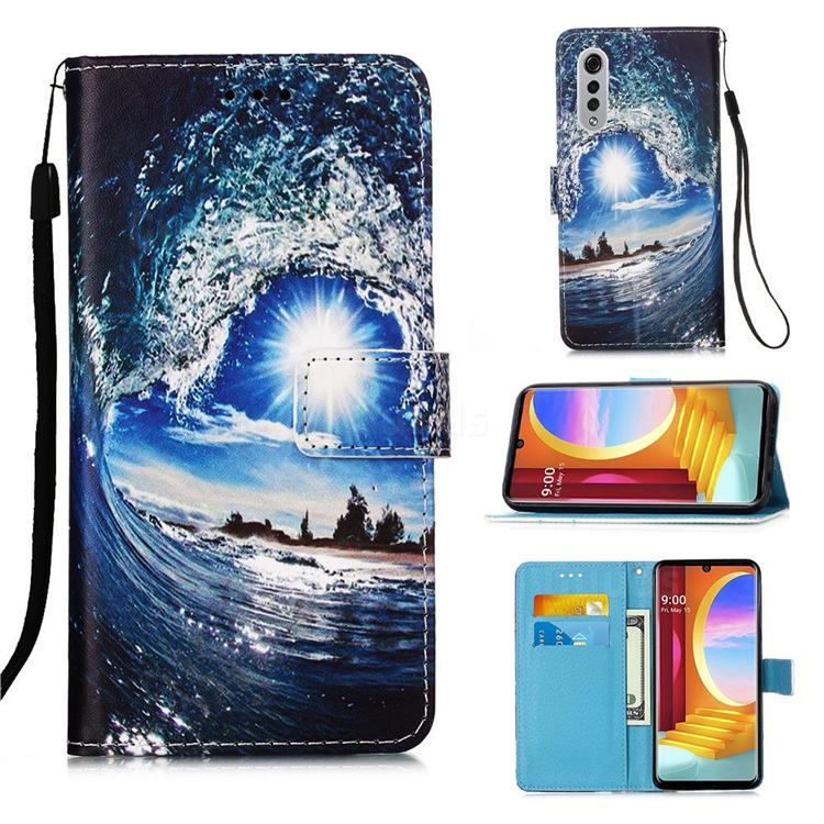 Waves and Sun Matte Leather Wallet Phone Case for LG Velvet 5G (LG G9 G900)