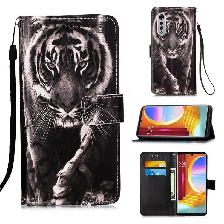 Black and White Tiger Matte Leather Wallet Phone Case for LG Velvet 5G (LG G9 G900)