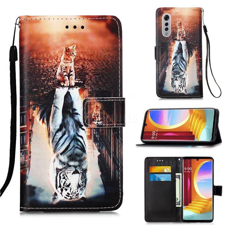 Cat and Tiger Matte Leather Wallet Phone Case for LG Velvet 5G (LG G9 G900)