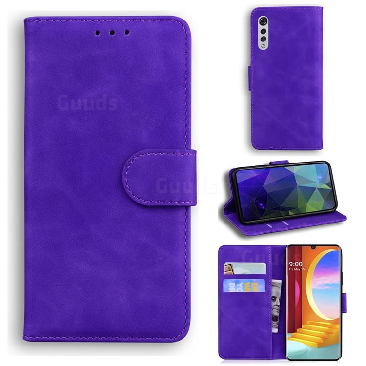 Retro Classic Skin Feel Leather Wallet Phone Case for LG Velvet 5G (LG G9 G900) - Purple