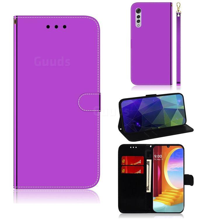 Shining Mirror Like Surface Leather Wallet Case for LG Velvet 5G (LG G9 G900) - Purple