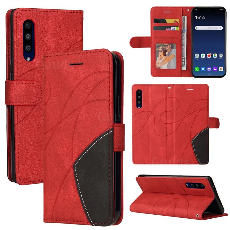 Luxury Two-color Stitching Leather Wallet Case Cover for LG Velvet 5G (LG G9 G900) - Red