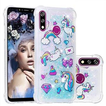 Fashion Unicorn Dynamic Liquid Glitter Sand Quicksand Star TPU Case for LG W10