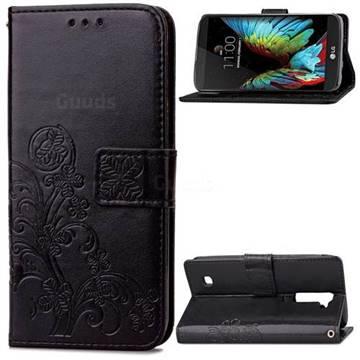 Embossing Imprint Four-Leaf Clover Leather Wallet Case for LG K10 - Black