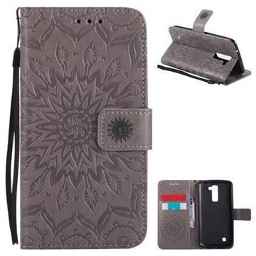 Embossing Sunflower Leather Wallet Case for LG K10 K420N K430DS K430DSF K430DSY - Gray