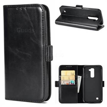 Luxury Crazy Horse PU Leather Wallet Case for LG K10 K420N K430DS K430DSF K430DSY - Black
