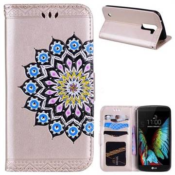 Datura Flowers Flash Powder Leather Wallet Holster Case for LG K10 K420N K430DS K430DSF K430DSY - Golden