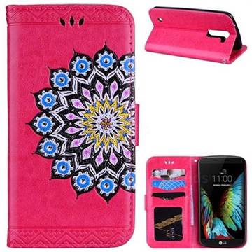 Datura Flowers Flash Powder Leather Wallet Holster Case for LG K10 K420N K430DS K430DSF K430DSY - Rose