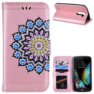 Datura Flowers Flash Powder Leather Wallet Holster Case for LG K10 K420N K430DS K430DSF K430DSY - Pink
