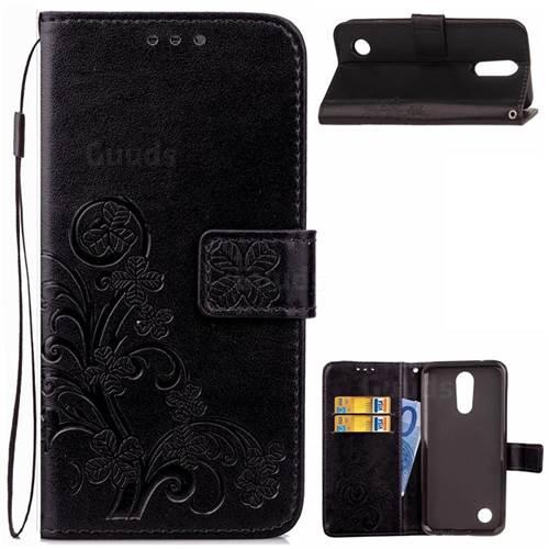 Embossing Imprint Four-Leaf Clover Leather Wallet Case for LG K10 2017 - Black