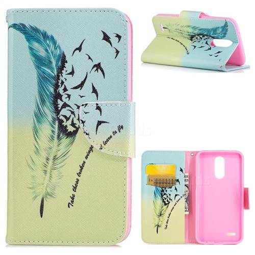 Feather Bird Leather Wallet Case for LG K10 2017