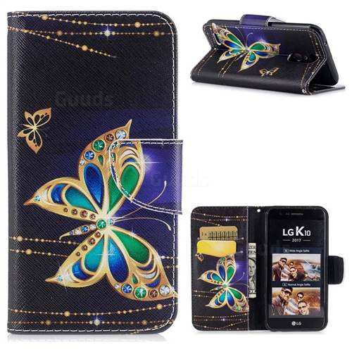 Golden Shining Butterfly Leather Wallet Case for LG K10 2017