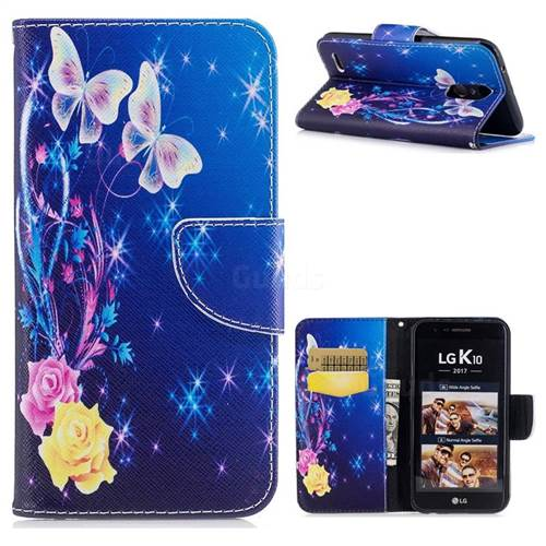 Yellow Flower Butterfly Leather Wallet Case for LG K10 2017