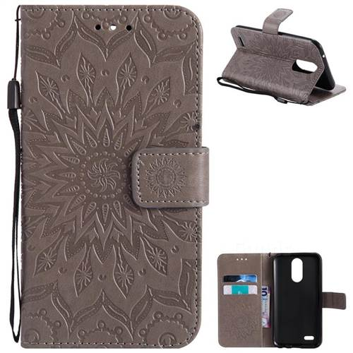 Embossing Sunflower Leather Wallet Case for LG K10 2017 - Gray