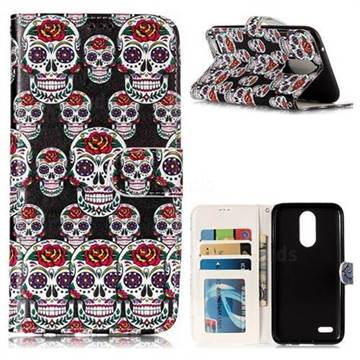 Flower Skull 3D Relief Oil PU Leather Wallet Case for LG K10 2017