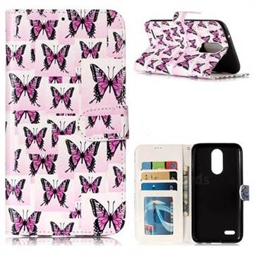 Butterflies Stickers 3D Relief Oil PU Leather Wallet Case for LG K10 2017