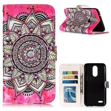 Rose Mandala 3D Relief Oil PU Leather Wallet Case for LG K10 2017