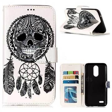 Wind Chimes Skull 3D Relief Oil PU Leather Wallet Case for LG K10 2017