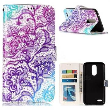 Purple Lotus 3D Relief Oil PU Leather Wallet Case for LG K10 2017