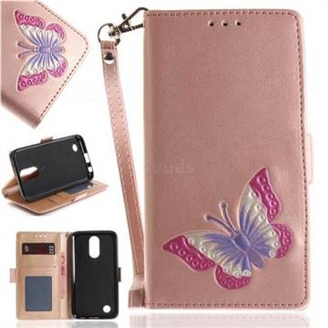 Imprint Embossing Butterfly Leather Wallet Case for LG K10 2017 - Rose Gold