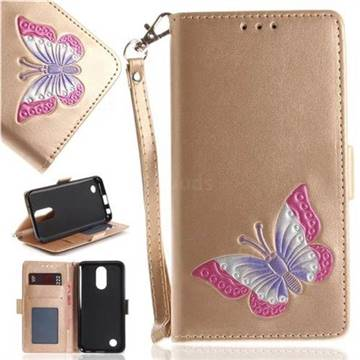 Imprint Embossing Butterfly Leather Wallet Case for LG K10 2017 - Golden