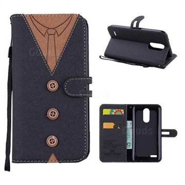 Mens Button Clothing Style Leather Wallet Phone Case for LG K10 2017 - Black
