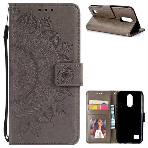 Intricate Embossing Datura Leather Wallet Case for LG K10 2017 - Gray