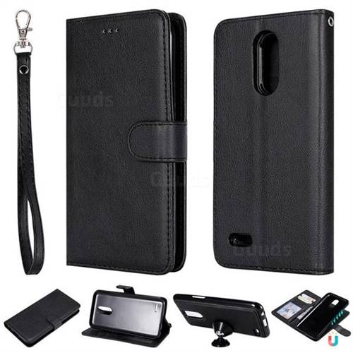 Retro Greek Detachable Magnetic PU Leather Wallet Phone Case for LG K10 2017 - Black