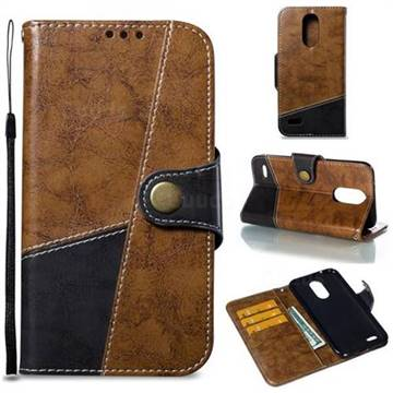 Retro Magnetic Stitching Wallet Flip Cover for LG K10 2017 - Brown