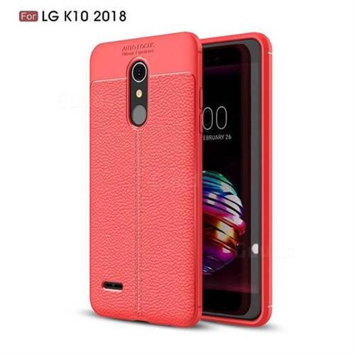 Luxury Auto Focus Litchi Texture Silicone TPU Back Cover for LG K10 (2018) - Red