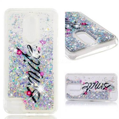 Dynamic Liquid Glitter Quicksand Soft TPU Case for LG K10 (2018) - Smile Flower