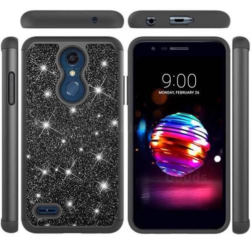 Glitter Rhinestone Bling Shock Absorbing Hybrid Defender Rugged Phone Case Cover for LG K10 (2018) - Black