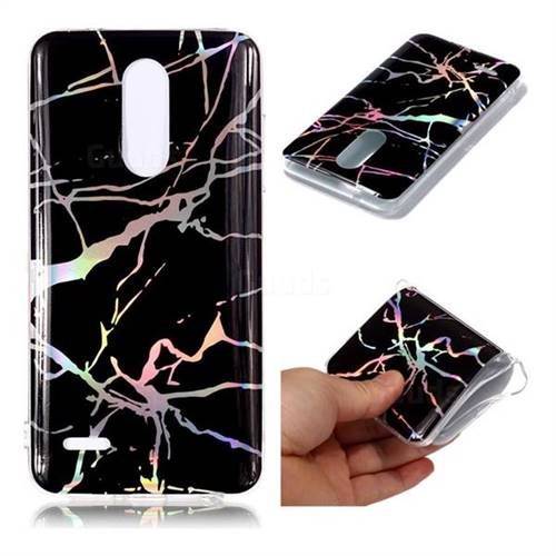 Plating Black Marble Pattern Bright Color Laser Soft TPU Case for LG K10 (2018)