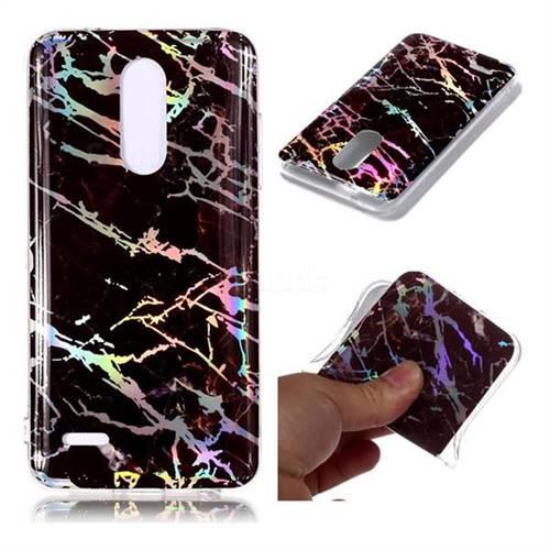 Black Brown Marble Pattern Bright Color Laser Soft TPU Case for LG K10 (2018)