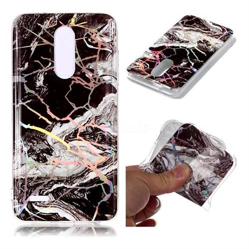White Black Marble Pattern Bright Color Laser Soft TPU Case for LG K10 (2018)