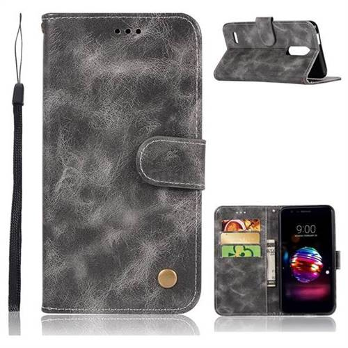 Luxury Retro Leather Wallet Case for LG K10 (2018) - Gray