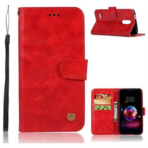 Luxury Retro Leather Wallet Case for LG K10 (2018) - Red