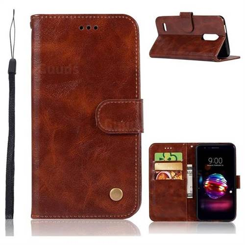 Luxury Retro Leather Wallet Case for LG K10 (2018) - Brown